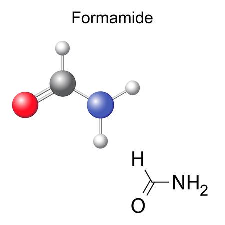 solvant: Formule chimique structurelle et le mod�le de mol�cule formamide, 2d et 3d isol�, vecteur, EPS 8