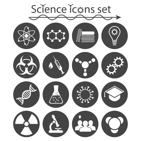 caution chemistry: Science icons set on white background, 2d vector,