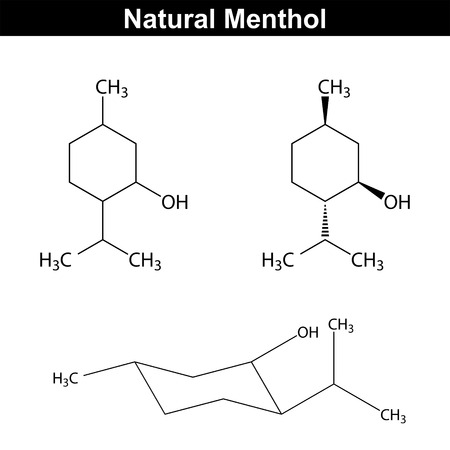 Menthol - food and pharmaceutical additive, structural chemical formula, 2d vector,  Illustration