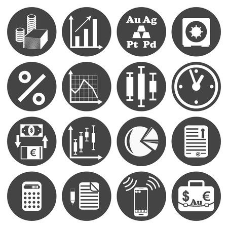 investor: Investor icons set on dark plates, 2d vector,