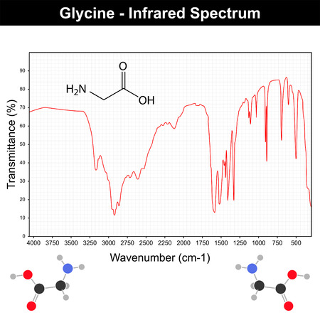 Infrared spectra example on grid - glycine molecule IR spectrum, 2d vector on white background  일러스트