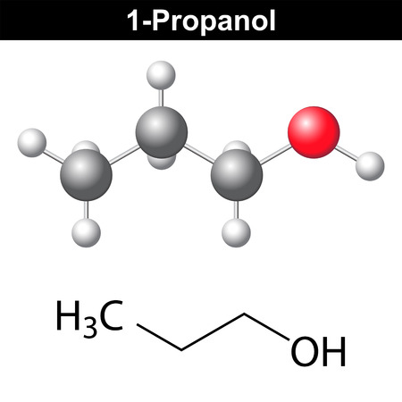structural formula: Propanol ( 1-propanol ) - structural chemical formula and model, 2d and 3d isolated vector