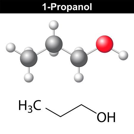 solvant: Propanol (1-propanol) - formule chimique structurelle et le mod�le, 2D et 3D vecteur isol� Illustration