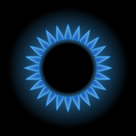 Blue flames of gas stove, natural gas, 3d vector,