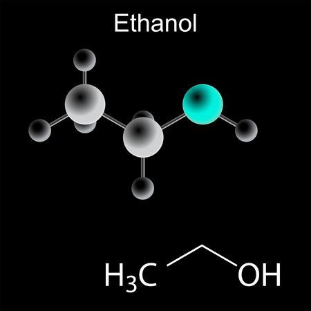 structural formula: Ethanol molecule - chemical structural formula and model, 2d and 3d vector on black background, balls and sticks, eps 8