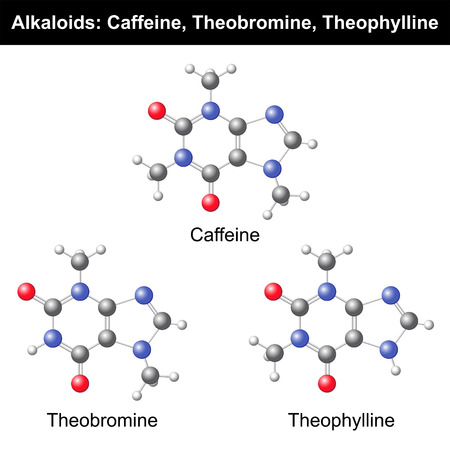 Caffeine, Theobromine and Theophylline 3d models on white background, vector, eps 8 Illustration