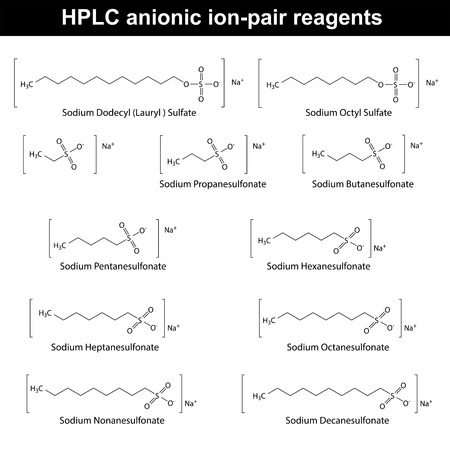 structural: HPLC anionic ion pair reagents - structural chemical formulas, 2d vector, eps 8