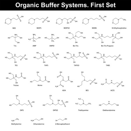 buffer: Organic buffer agents - chemical molecular structures and formulas, first set, 2d vector, eps 8 Illustration