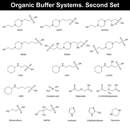 amine: Organic buffer agents - chemical molecular structures and formulas, second set, 2d vector, eps 8