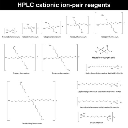 ammonium: HPLC cationic ion pair reagents - structural molecular chemical formulas, 2d vector, eps 8 Illustration