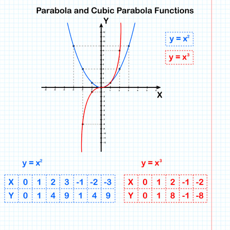 Functions of quadratic and cubic parabolas, 2d vector. All elements are on separate layers
