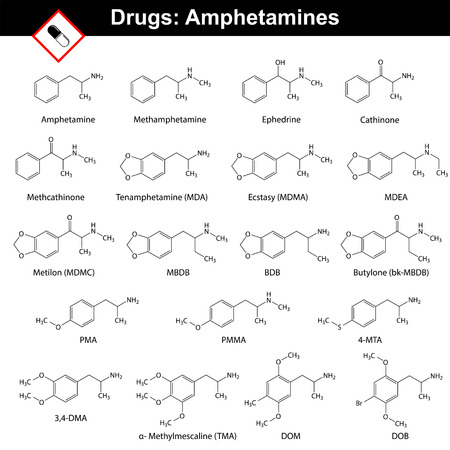 synthetic: Amphetamines - natural and synthetic drugs, main chemical structural formulas, 2d vector isolated on white background