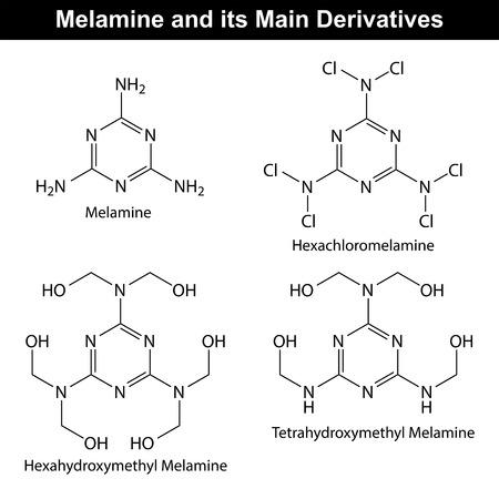 Melamine and its main derivatives, molecular structural chemical formulas, 2d vector Ilustração