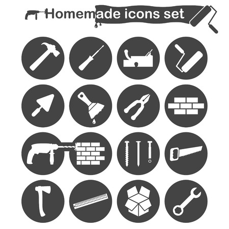 unpacking: Homemade construction and renovation icons set, 16 icons, 2d vector on round plates, white and gray colors
