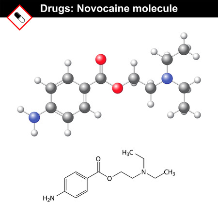 structural: Novocaine molecule - anesthetic agent, structural chemical formula and model, ball and stick style, 2d and 3d vector