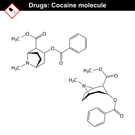 Cocaine - natural drug, chemical molecular formula, 2d vector isolated on white background