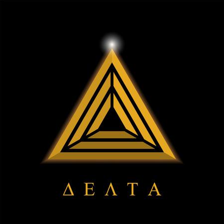 Delta letter logo template, aim concept, 3d illustration on dark background, isolated, vector