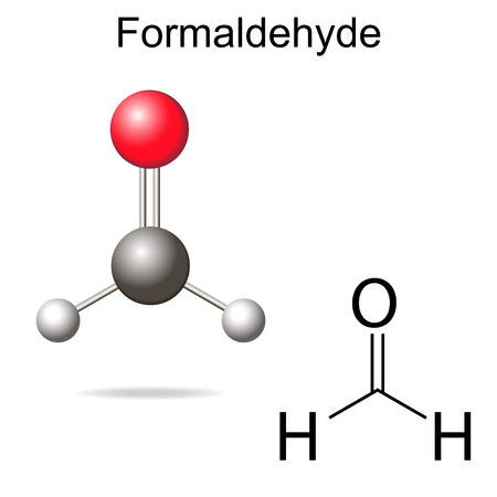 Formaldehyde model - structural chemical formula of molecule, 2d and 3d vector on white background
