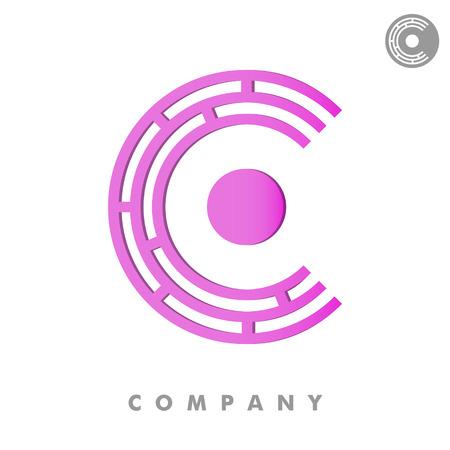 circuit sale: C letter logo, 3d vector on white background, eps 8 Illustration
