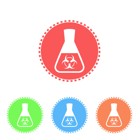 synthesis: Science icon of conical flask, toxicological research, 2d flat vector on white background
