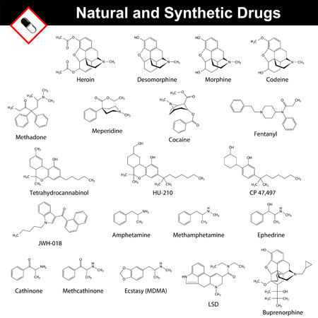 methamphetamine: Main natural and synthetic drugs - structural chemical formulas of molecules, opiates, cannabinoids, amphetamines, LSD, cocaine, methadone, fentanyl, meperidine, 2d vector, isolated on white background