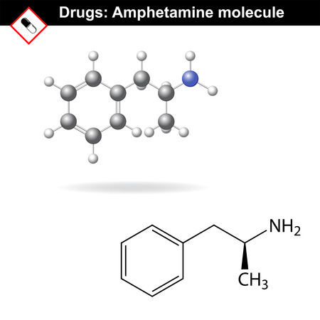 amphetamine: Amphetamine drug molecule, main chemical structural formulas, 2d vector isolated on white background, eps 8 Illustration