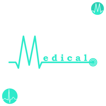 medical symbol: M letter medicine logo template on white background, isolated, 2d flat vector