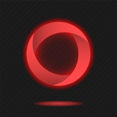 radiative: Neon segmented circle icon, o letter logo template, three segments, 3d vector on dark background