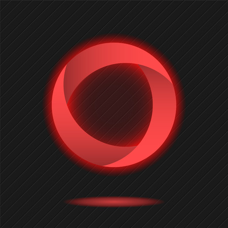 Neon segmented circle icon, o letter logo template, three segments, 3d vector on dark background