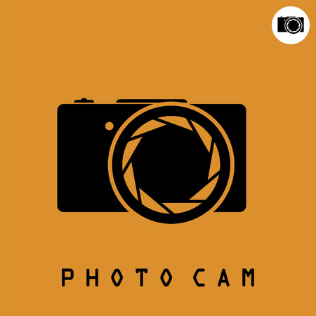 digicam: Photo camera icon on dark organge background, 2d simple vector