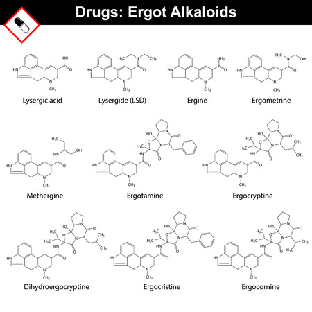 psychodelic: Ergot alkaloids and their synthetic and semi-synthetic analogues, drugs and hallucinogens, structural chemical formulas of molecules, 2d vector, isolated on white background