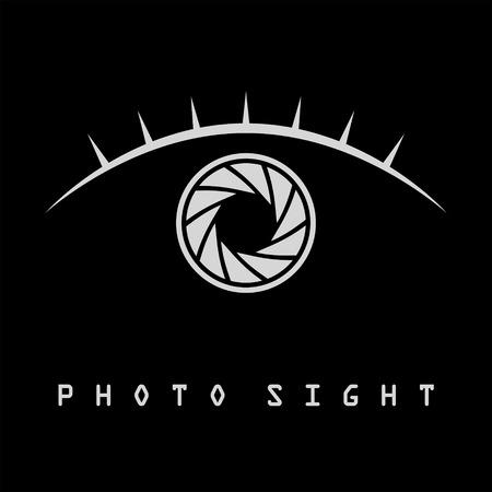 Photo eye with eyelash logo template, isolated on black background, 2d symbol, vector, eps 8