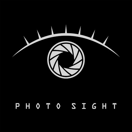 Photo eye with eyelash logo template, isolated on black background, 2d symbol, vector, eps 8