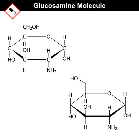 amine: Glucosamine structure - component of cartilage tissue of joints. Structural chemical formulas, 2d vector, isolated on white background, eps 8