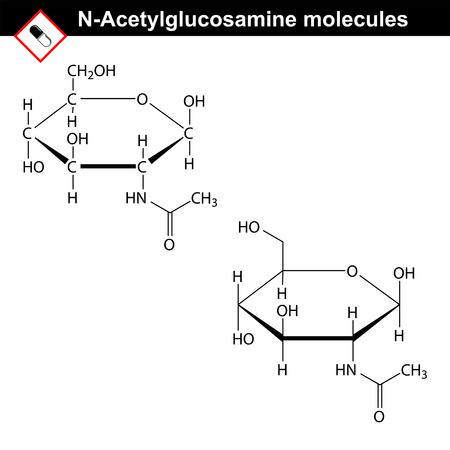 chitin: N-Acetylglucosamine NAG molecule - component of hyaluronic acid and chitin Structural chemical formulas, 2d vector, isolated on white background, eps 8