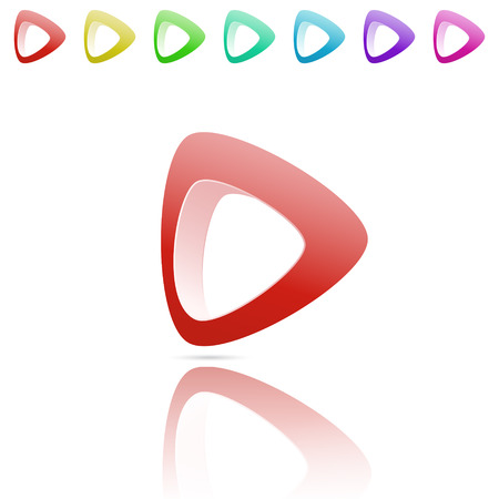 color reflection: Smooth arrow with reflection, color variations, 3d vector logo on white background, eps 10
