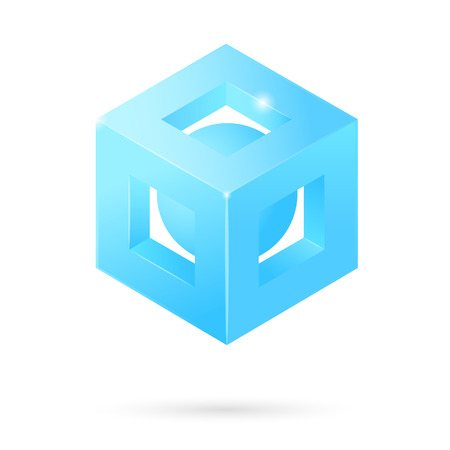 regular tetragon: Isometric perforated cube logo with  sphere inside, 3d icon, structure concept, vector isolated on white background, eps 10