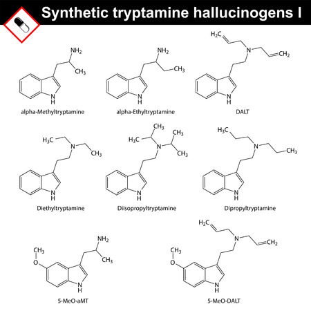 Artificial tryptamine hallucinogens - molecular chemical models, 2d vector, isolated on white background, eps 8