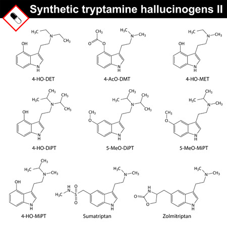 sympathetic: Artificial tryptamine hallucinogens - molecular chemical models, 2d vector, isolated on white background, second set, eps 8 Illustration
