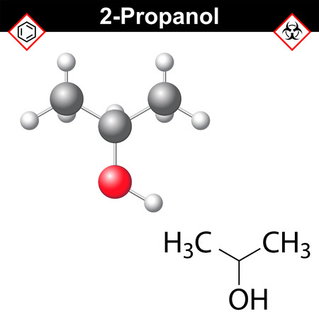 structural: Propanol - structural chemical formula and model of isopropanol, 2d and 3d isolated on white background, vector, eps 8