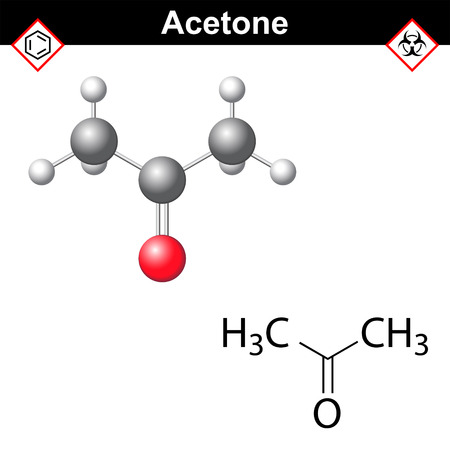 Acetone molecule - structural chemical formula and model, one of main organic solvent, 2d and 3d isolated on white background, vector, eps 8