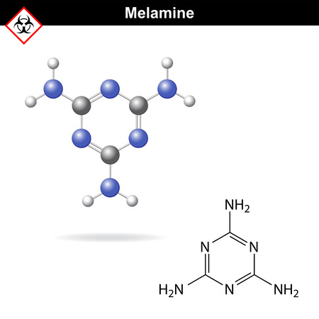 Melamine - falsifier of protein content in milk and milk products, model and molecular structural chemical formula, 2d and 3d vector on white background, eps 8 Illustration