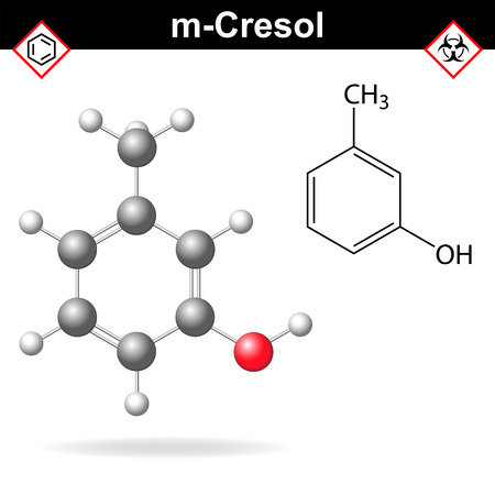 structural formula: Cresol molecule - structural chemical formula and model of meta-cresol, 2d and 3d isolated on white background, vector, eps 8 Illustration