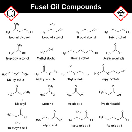 substances: Organic compounds of fusel oil, structural chemical molecular formulas, alcohol  distillation substances, 2d vector isolated on white background, eps 8