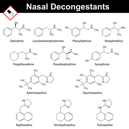 Nasal decongestant agents - structural chemical formulas, pharmaceutical formulations, 2d vector, isolated on white background, eps 8