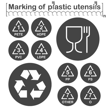 polystyrene: Marking of plastic utensils icons set on dark round plates, gray and white colors, 2d vector, eps 8