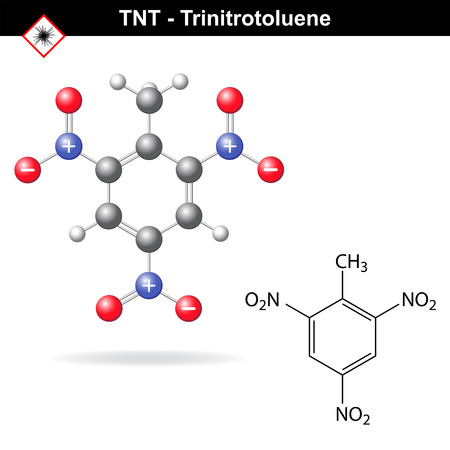 Trinitrotoluene - tnt explosive agent, structural chemical formula and model, 2d and 3d vector isolated on white background, eps 8