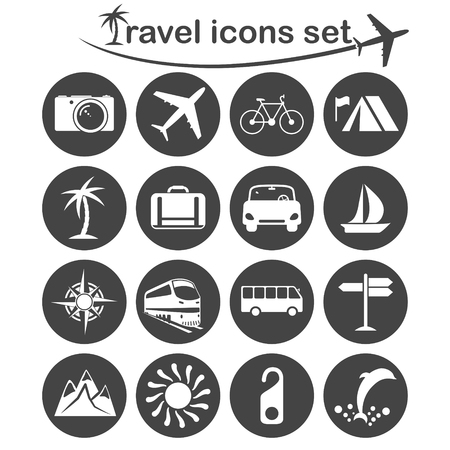 voyage avion: icônes de voyage réglées, 16 signes sur des plaques rondes sombres, vecteur 2d Illustration