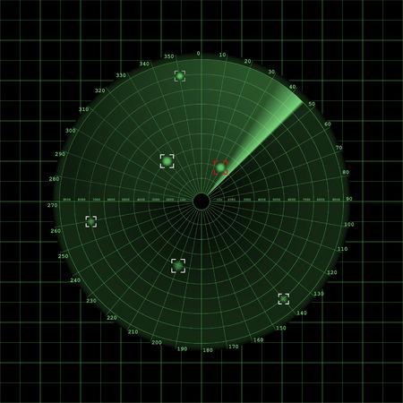 sonar: �cran Radar sur la grille, vecteur 2D sur fond sombre, sonar Illustration