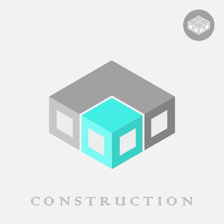 Isometric cube construction, 3d and 2d logo, structure concept, vector isolated on gray background